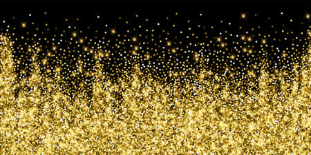 Sparkling gold luxury sparkling confetti. Scattered small gold particles on black background. Alive festive overlay template. Mesmeric vector illustration.