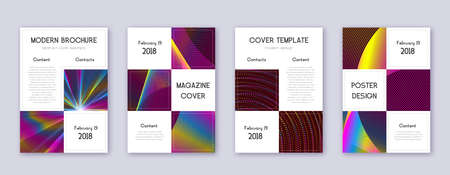 Business brochure design template set. Rainbow abstract lines on wine red background. Alive brochure design. Adorable catalog, poster, book template etc. 矢量图像