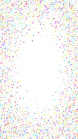 Festive impressive confetti. Celebration stars. Colorful stars on white background. Fascinating festive overlay template. Vertical vector background.