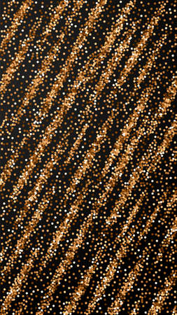 Red round gold glitter luxury sparkling confetti. Scattered small gold particles on black background. Emotional festive overlay template. Sublime vector background.