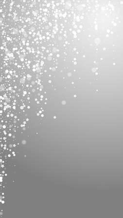 Magic stars Christmas background. Subtle flying snow flakes and stars on grey background. Alive winter silver snowflake overlay template. Interesting vertical illustration. 矢量图像