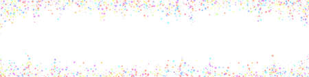 Festive actual confetti. Celebration stars. Colorful stars small on white background. Alive festive overlay template. Panoramic vector background.