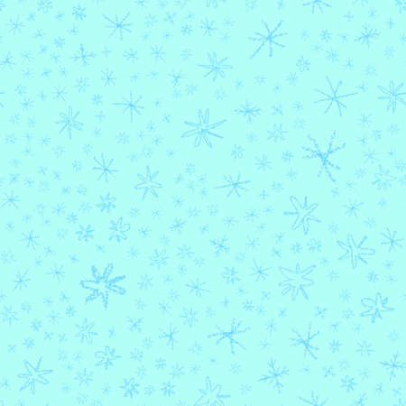 Hand Drawn blue Snowflakes Christmas Seamless Pattern. Subtle Flying Snow Flakes on turqouise Background. Comely chalk handdrawn snow overlay. Unusual holiday season decoration.