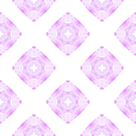 Watercolor ikat repeating tile border. Purple juicy boho chic summer design. Textile ready fetching print, swimwear fabric, wallpaper, wrapping.  Ikat repeating  swimwear design. Imagens