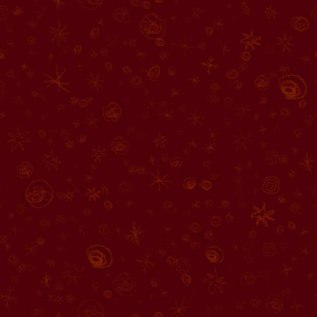 Hand Drawn red Snowflakes Christmas Seamless Pattern. Subtle Flying Snow Flakes on wine red Background. Stylish chalk handdrawn snow overlay. Exquisite vector illustration.