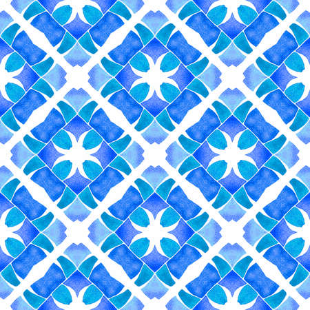 Textile ready symmetrical print, swimwear fabric, wallpaper, wrapping.  Blue brilliant boho chic summer design. Medallion seamless pattern. Watercolor medallion seamless border.