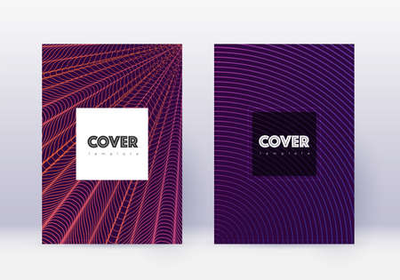 Hipster cover design template set. Violet abstract lines on dark background. Curious cover design. Outstanding catalog, poster, book template etc. Ilustracja
