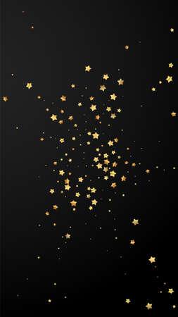 Gold stars random luxury sparkling confetti. Scattered small gold particles on black background. Elegant festive overlay template. Noteworthy vector background. Illusztráció