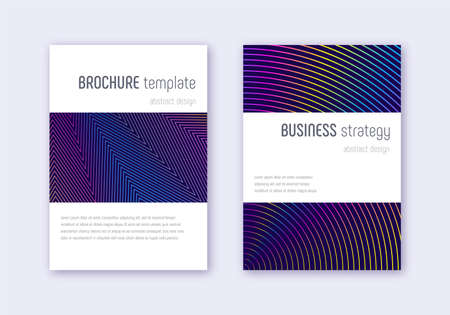 Minimalistic cover design template set. Rainbow abstract lines on dark blue background. Energetic cover design. Cute catalog, poster, book template etc. Ilustracja