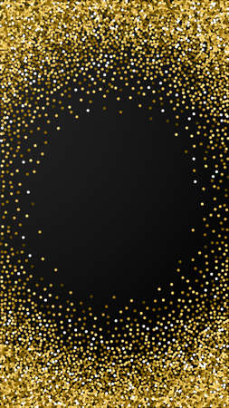 Round gold glitter luxury sparkling confetti. Scattered small gold particles on black background. Ecstatic festive overlay template. Extra vector background. Ilustração