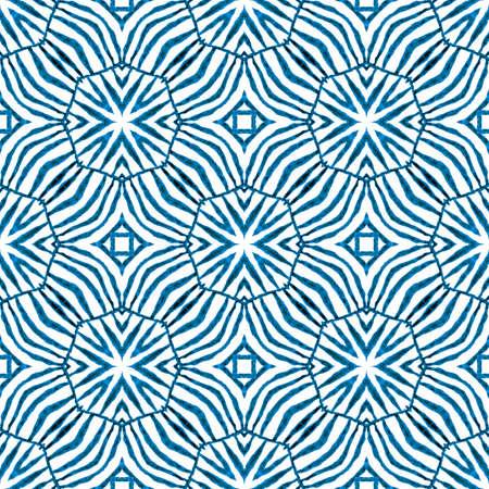 Ikat repeating swimwear design. Blue eminent boho chic summer design. Textile ready amusing print, swimwear fabric, wallpaper, wrapping. Watercolor ikat repeating tile border. Stock Photo