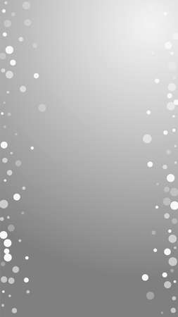 White dots Christmas background. Subtle flying snow flakes and stars on grey background. Adorable winter silver snowflake overlay template. Classic vertical illustration. Ilustrace