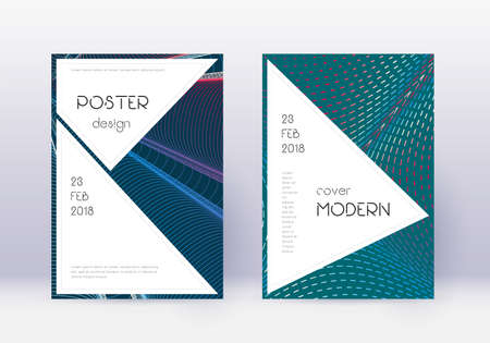 Stylish cover design template set. Red abstract lines on white blue background. Fascinating cover design. Appealing catalog, poster, book template etc.