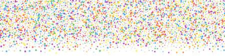 Festive interesting confetti. Celebration stars. Rainbow bright stars on white background. Alluring festive overlay template. Panoramic vector background.