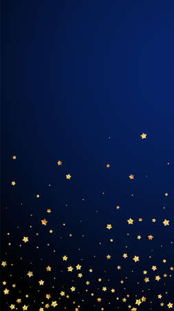 Gold stars random luxury sparkling confetti. Scattered small gold particles on dark blue background. Excellent festive overlay template. Magnificent vector background.