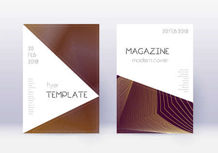 Triangle cover design template set. Gold abstract lines on maroon background. Impressive cover design. Decent catalog, poster, book template etc.