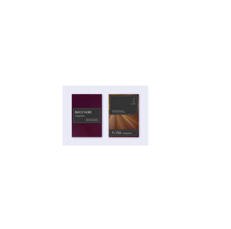 Black cover design template set. Gold abstract lines on maroon background. Alluring cover design. Dazzling catalog, poster, book template etc.