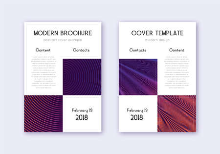 Business cover design template set. Violet abstract lines on dark background. Attractive cover design. Eminent catalog, poster, book template etc. 일러스트
