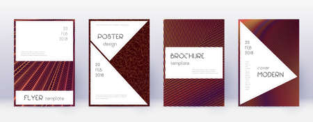 Stylish brochure design template set. Orange abstract lines on wine red background. Beautiful brochure design. Nice catalog, poster, book template etc.
