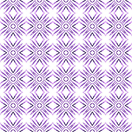 Textile ready appealing print, swimwear fabric, wallpaper, wrapping.  Purple stunning boho chic summer design. Tiled  watercolor background. Hand painted tiled watercolor border.