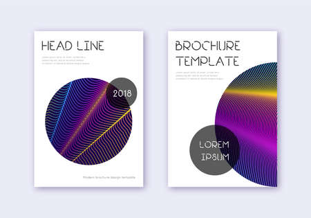 Trendy cover design template set. Rainbow abstract lines on dark blue background. Glamorous cover design. Fine catalog, poster, book template etc. 일러스트