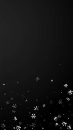 Sparse snowfall Christmas background. Subtle flying snow flakes and stars on black background. Appealing winter silver snowflake overlay template. Pleasant vertical illustration. 矢量图像