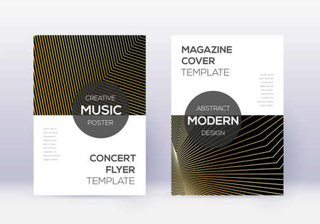 Modern cover design template set. Gold abstract lines on black background. Excellent cover design. Perfect catalog, poster, book template etc.