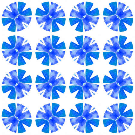 Exotic seamless pattern. Blue ravishing boho chic summer design. Textile ready beautiful print, swimwear fabric, wallpaper, wrapping. Summer exotic seamless border.