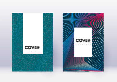 Hipster cover design template set. Red abstract lines on white blue background. Classy cover design. Perfect catalog, poster, book template etc.