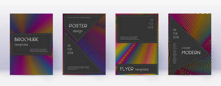Black brochure design template set. Rainbow abstract lines on wine red background. Admirable brochure design. Enchanting catalog, poster, book template etc.