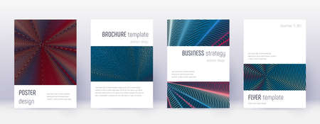 Minimalistic brochure design template set. Red abstract lines on white blue background. Authentic brochure design. Mind-blowing catalog, poster, book template etc. 일러스트