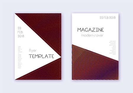 Triangle cover design template set. Orange abstract lines on wine red background. Incredible cover design. Magnetic catalog, poster, book template etc.