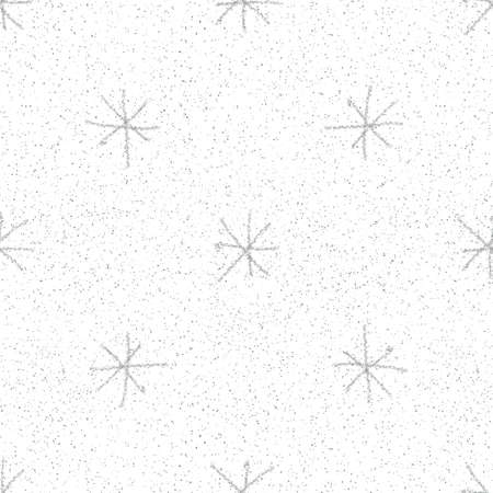 Hand Drawn grey Snowflakes Christmas Seamless Pattern. Subtle Flying Snow Flakes on white Background. Delicate chalk handdrawn snow overlay. Stylish holiday season decoration.