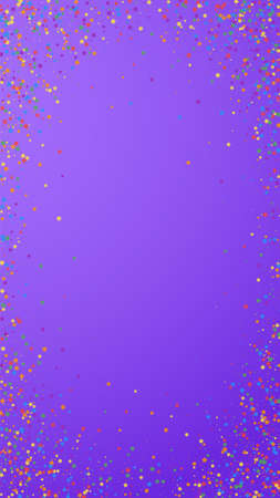 Festive breathtaking confetti. Celebration stars. Childish bright stars on violet background. Favorable festive overlay template. Vertical vector background. 矢量图像