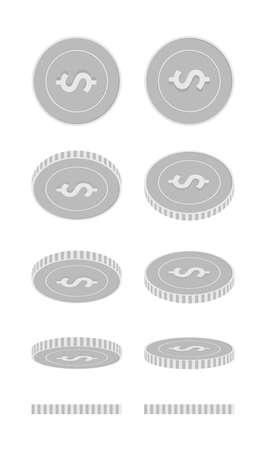 American dollar rotating coins set, animation ready. Black and white USD silver coins rotation. USA metal money. Trending cartoon vector illustration.