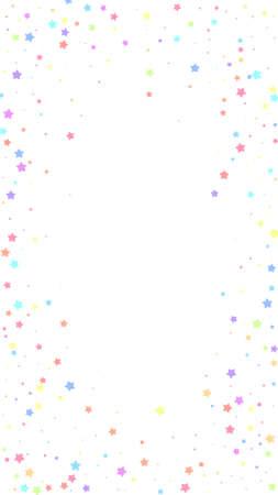 Festive terrific confetti. Celebration stars. Colorful stars random on white background. Fascinating festive overlay template. Vertical vector background.