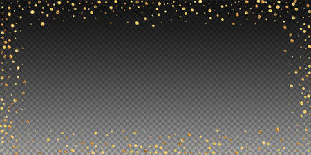Sparse gold confetti luxury sparkling confetti. Scattered small gold particles on transparent background. Bold festive overlay template. Fascinating vector illustration. 일러스트
