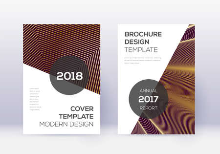 Modern cover design template set. Gold abstract lines on maroon background. Extra cover design. Majestic catalog, poster, book template etc. Ilustração