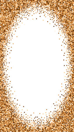 Red round gold glitter luxury sparkling confetti. Scattered small gold particles on white background. Dramatic festive overlay template. Remarkable vector background.