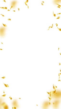 Streamers and confetti. Gold streamers tinsel and foil ribbons. Confetti vignette on white background. Beautiful party overlay template. Alluring celebration concept.