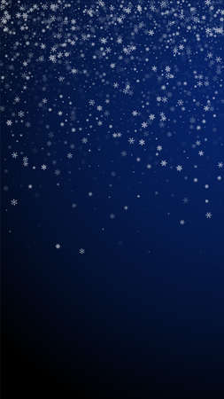 Beautiful snowfall Christmas background. Subtle flying snow flakes and stars on dark blue background. Appealing winter silver snowflake overlay template. Extraordinary vertical illustration. 矢量图像