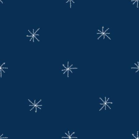 Hand Drawn white Snowflakes Christmas Seamless Pattern. Subtle Flying Snow Flakes on blue Background. Symmetrical chalk handdrawn snow overlay. Flawless vector illustration.