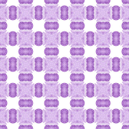 Watercolor summer ethnic border pattern. Purple terrific boho chic summer design. Textile ready superb print, swimwear fabric, wallpaper, wrapping.  Ethnic hand painted  pattern.