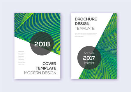 Modern cover design template set. Green abstract lines on dark background. Extra cover design. Sightly catalog, poster, book template etc.