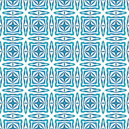 Textile ready good-looking print, swimwear fabric, wallpaper, wrapping.  Blue glamorous boho chic summer design. Watercolor summer ethnic border pattern. Ethnic hand painted  pattern. 免版税图像