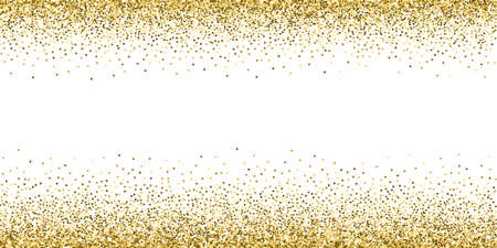 Gold triangles glitter luxury sparkling confetti. Scattered small gold particles on white background. Artistic festive overlay template. Rare vector illustration.