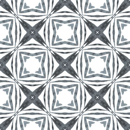 Ethnic hand painted  pattern. Black and white breathtaking boho chic summer design. Watercolor summer ethnic border pattern. Textile ready good-looking print, swimwear fabric, wallpaper, wrapping. 免版税图像