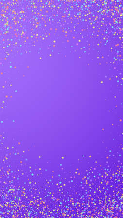 Festive ecstatic confetti. Celebration stars. Colorful stars small on violet background. Fetching festive overlay template. Vertical vector background.  イラスト・ベクター素材