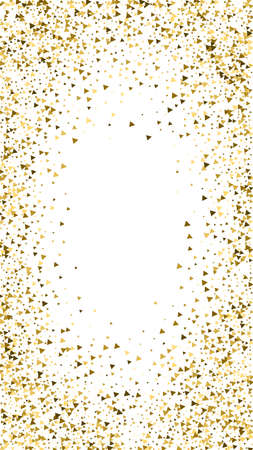 Gold triangles luxury sparkling confetti. Scattered small gold particles on white background. Divine festive overlay template. Unequaled vector background.