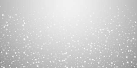 Random falling stars Christmas background. Subtle flying snow flakes and stars on light grey background. Beautiful winter silver snowflake overlay template. Curious vector illustration.